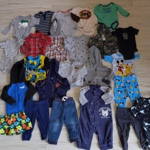 Lot of 24 piece baby boys clothes size 12 months